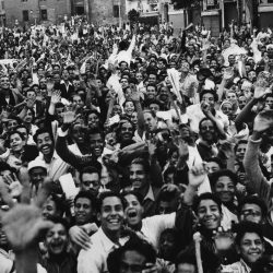 A waving, shouting crowd demonstrates against Great Britain in Cairo on Oct. 23, 1951 as tension continued to mount in the dispute between Egypt and Britain over control of the Suez Canal and the Sudan. Police used tear gas to disperse Cairo mobs and fired into other crowds in Alexandria. (AP Photo)